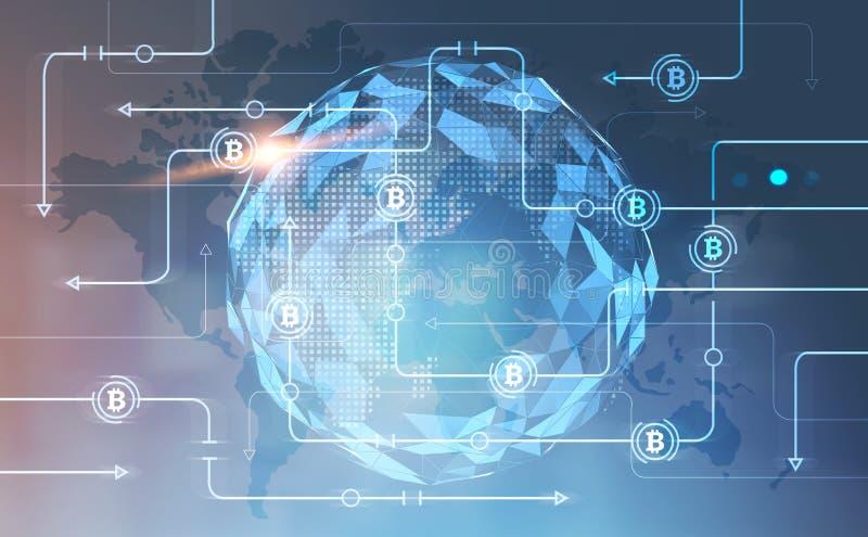 Schnittstelle Bitcoin-globalen Netzwerks, Weltkarte stock abbildung