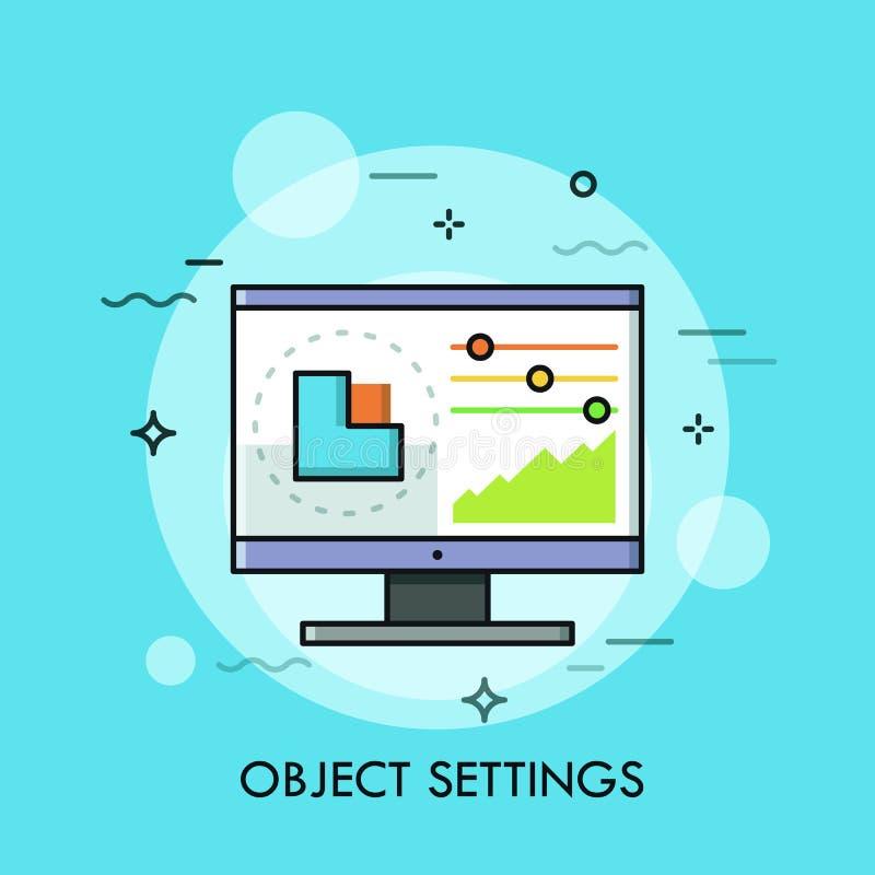 Schnittstelle des Grafikeditorprogramms mit dem Diagramm und Schiebern angezeigt auf Bildschirm Digitalbildredigieren, Gegenstand lizenzfreie abbildung