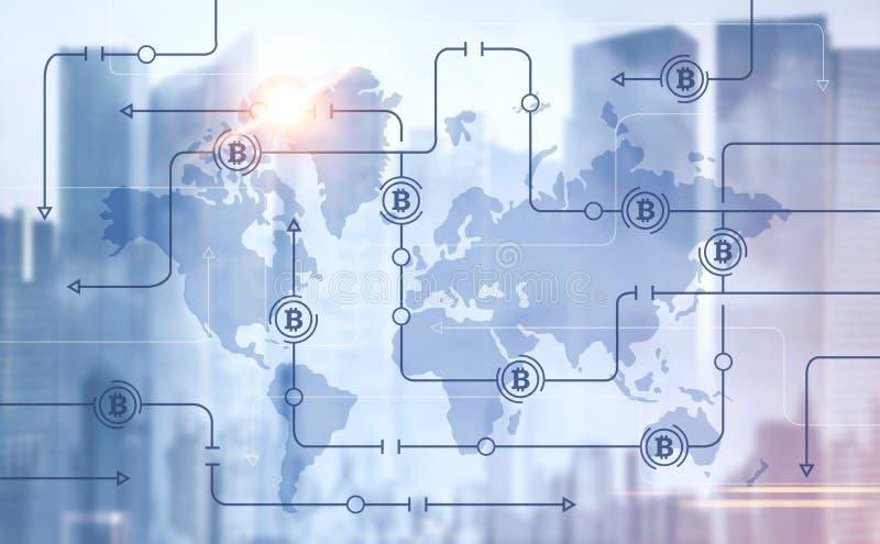 Schnittstelle, Karte und Stadt Bitcoin-globalen Netzwerks vektor abbildung