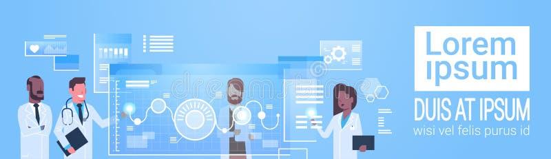 Schnittstellen-Innovations-Technologie-Konzept-moderne ärztliche Behandlung Doktor-Group Use Virtual Computer lizenzfreie abbildung