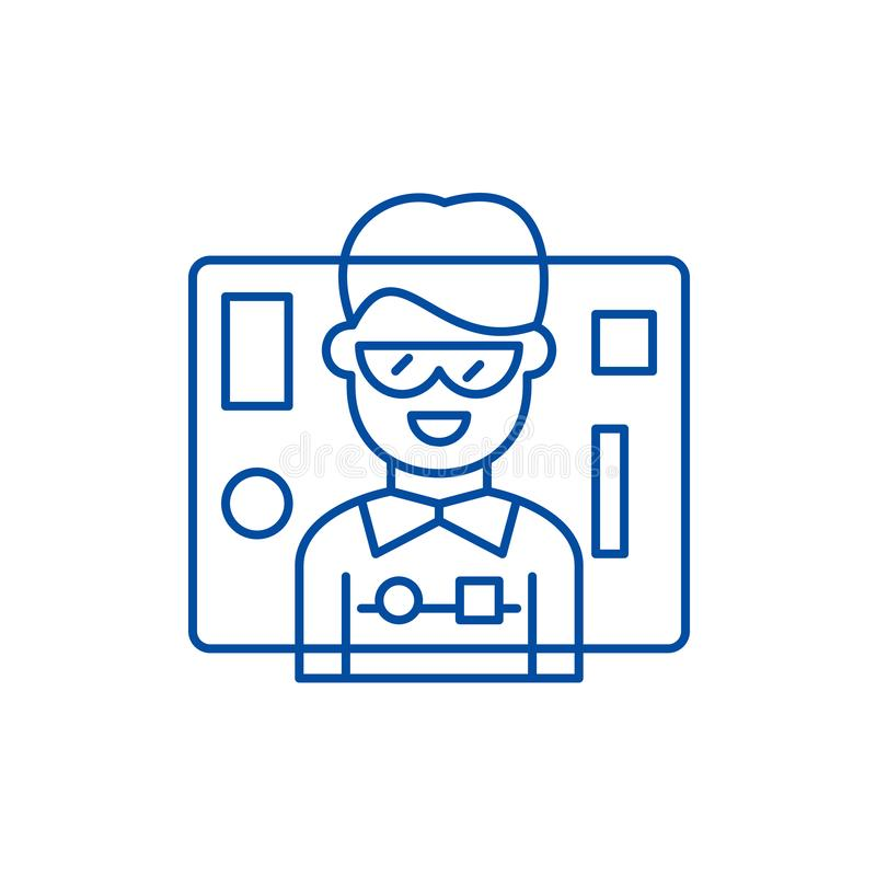 Schnittstellenentwurfslinie Ikonenkonzept Flaches Vektorsymbol des Schnittstellenentwurfs, Zeichen, Entwurfsillustration stock abbildung