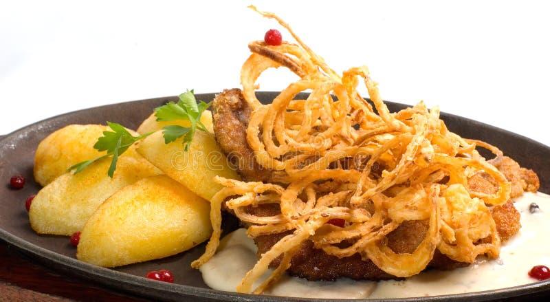 Schnitzel da carne de porco fotos de stock