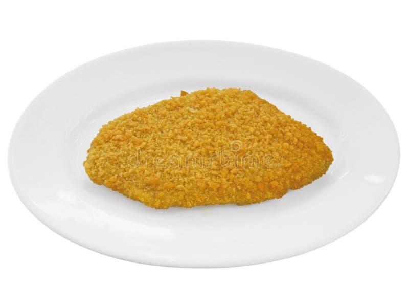 Schnitzel de Wiener no prato branco. imagens de stock