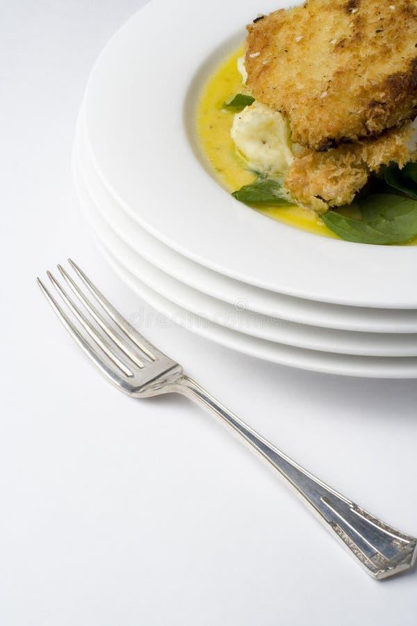 Schnitzel del pollo; con la fork antigua angulosa imagen de archivo libre de regalías