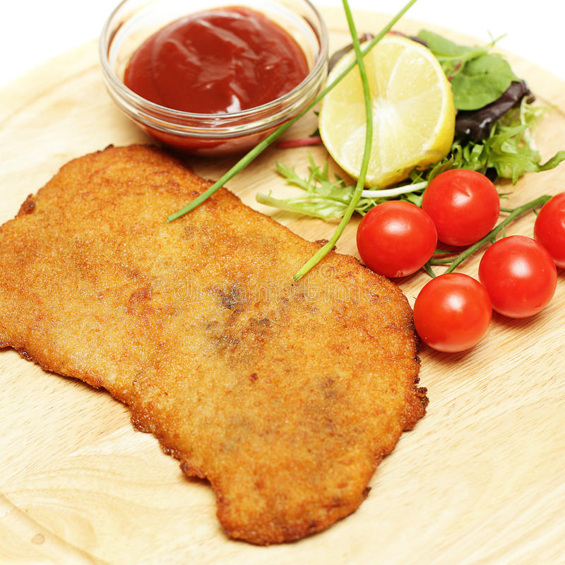 Schnitzel of escalope close-up stock foto