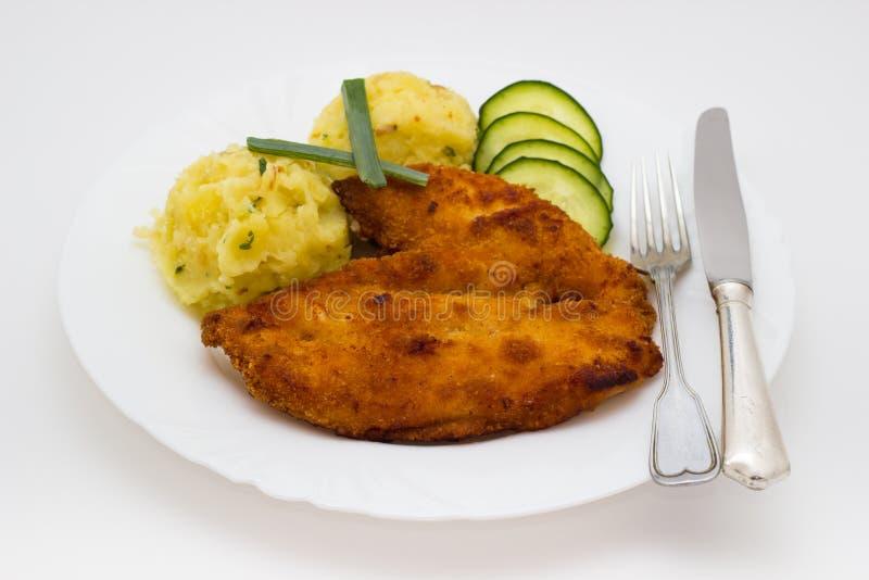Schnitzel del pollo frito imagen de archivo libre de regalías