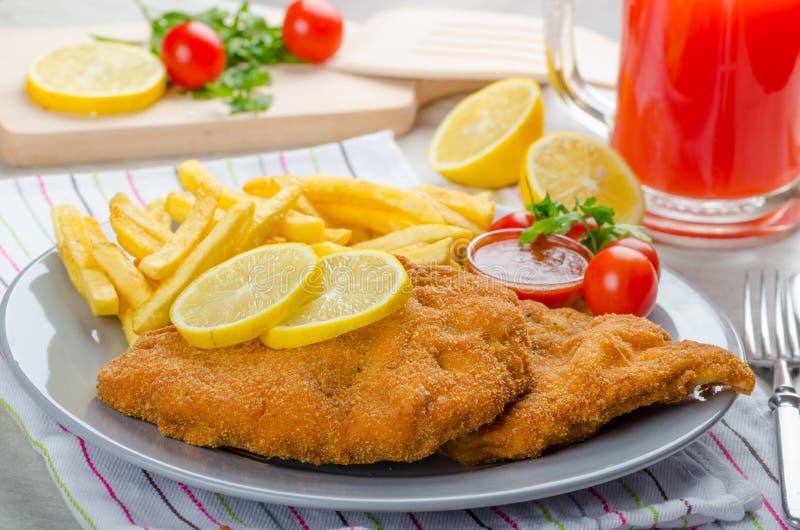 Schnitzel met frieten en een kruidige onderdompeling stock foto's
