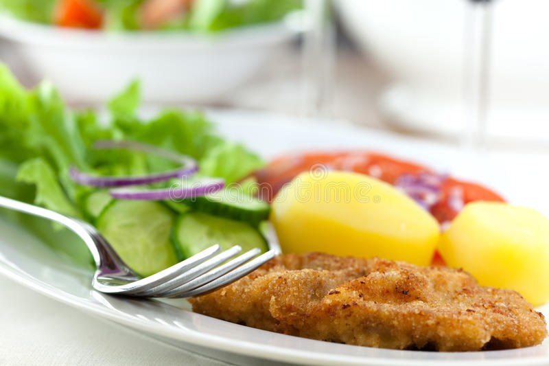 Schnitzel with potatoes and salad royalty free stock photography