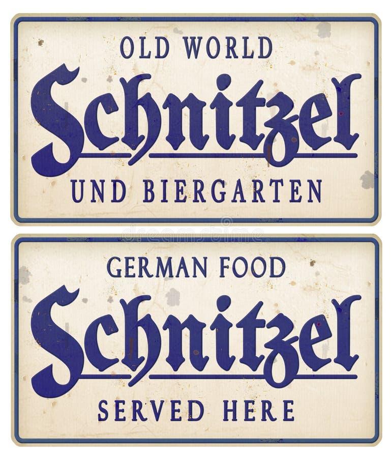 Schnitzel sign Vintage tin Metal Biergarten German Food. Rustic antique restaurant old served here royalty free stock image