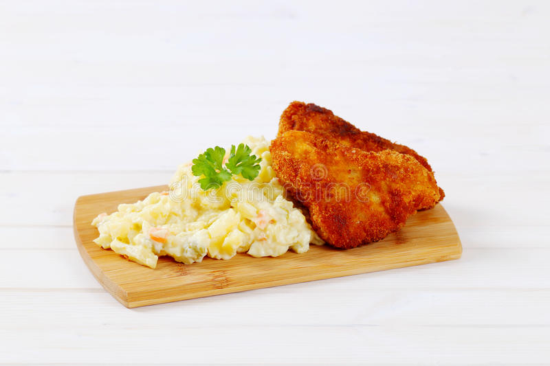 Download Schnitzels With Potato Salad Stock Image - Image of meal, dinner: 83708777