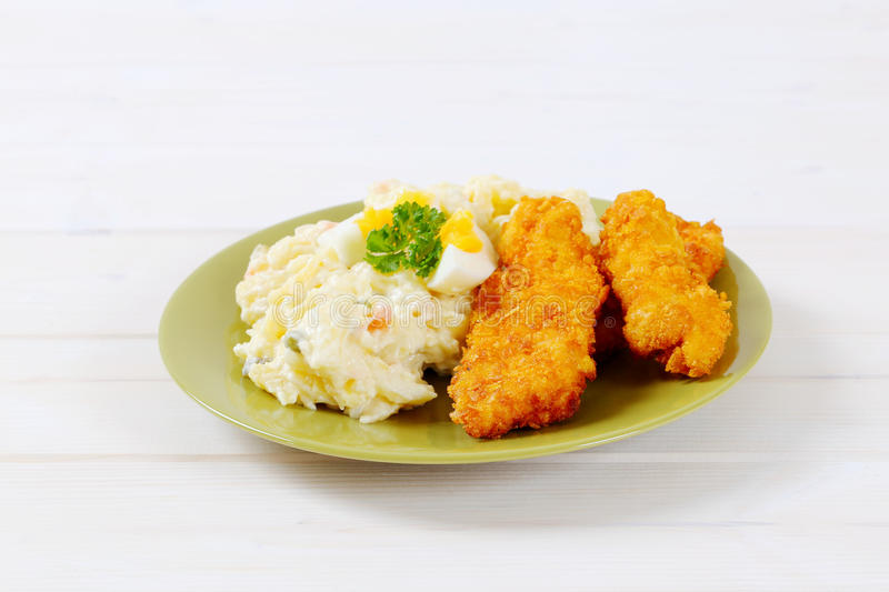 Download Schnitzels With Potato Salad Stock Image - Image: 83706489