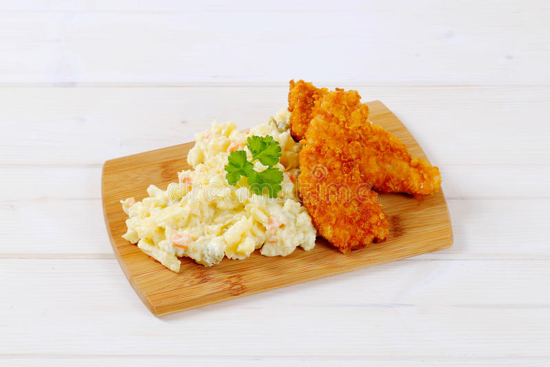 Download Schnitzels With Potato Salad Stock Photo - Image: 83706974