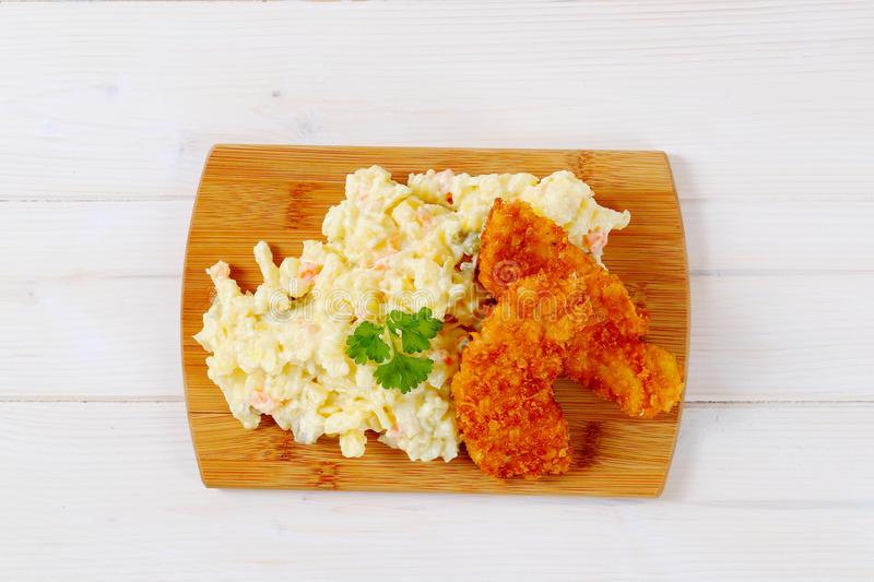 Download Schnitzels With Potato Salad Stock Photo - Image: 83706984