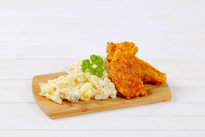 Download Schnitzels With Potato Salad Stock Photo - Image: 83708374