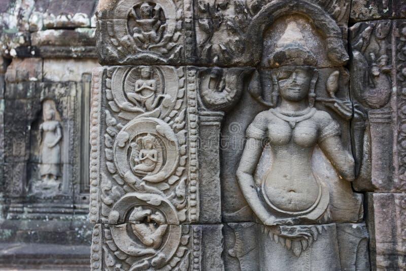 Schnitzen bei Angkor Thom stockfoto