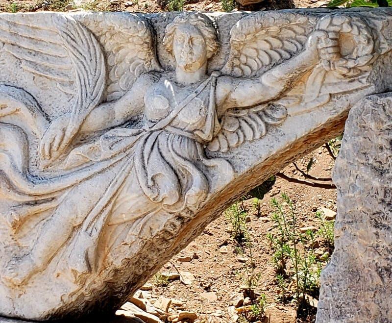 Schnitzen der griechischen Göttin Nike lizenzfreie stockbilder
