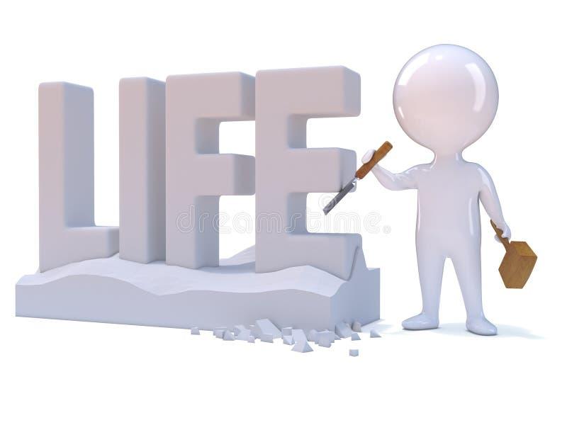 schnitzt kleiner Mann 3d das Wort Leben stock abbildung