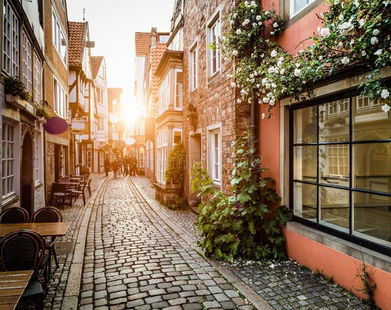 Schnoorviertel histórico no por do sol em Brema, Alemanha fotografia de stock royalty free