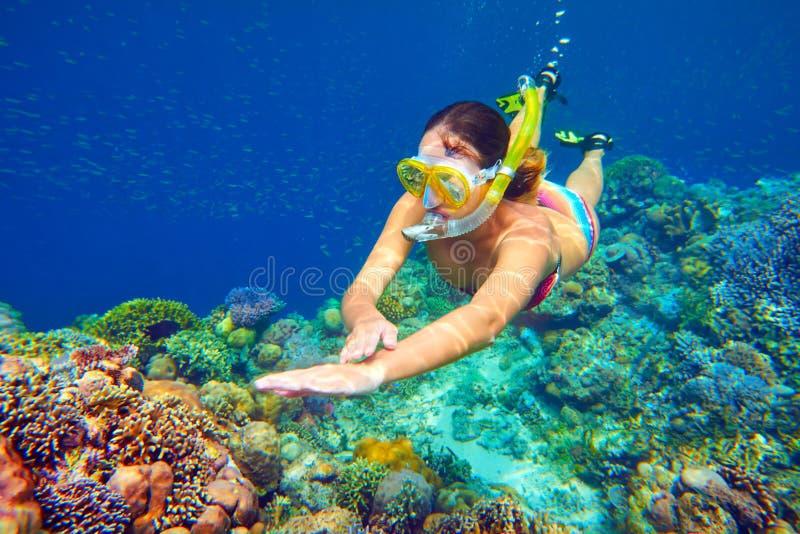 Schnorcheln der Frau über dem klaren Korallenriff stockbild