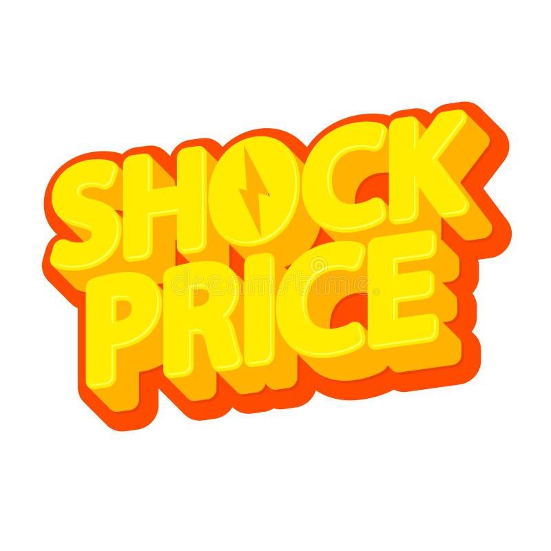 Schock-Preis, Verkaufsumbau, Plakatentwurfsschablone, Rabatt lokalisierter Aufkleber, Vektorillustration vektor abbildung