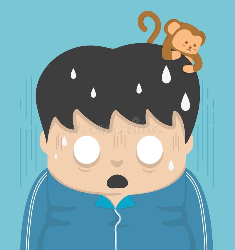 Schock und ein Affe auf dem Kopf stock abbildung