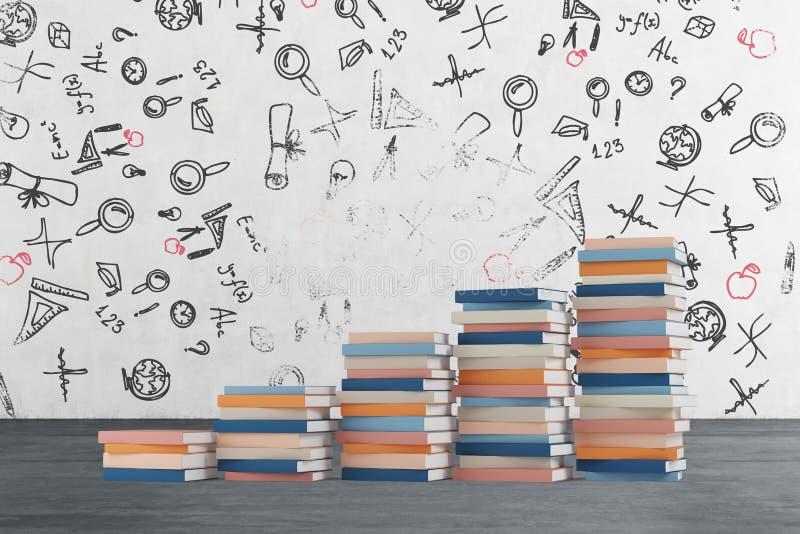 Schodek zrobi colourful książki Edukacyjne ikony rysują na betonowej ścianie ilustracji