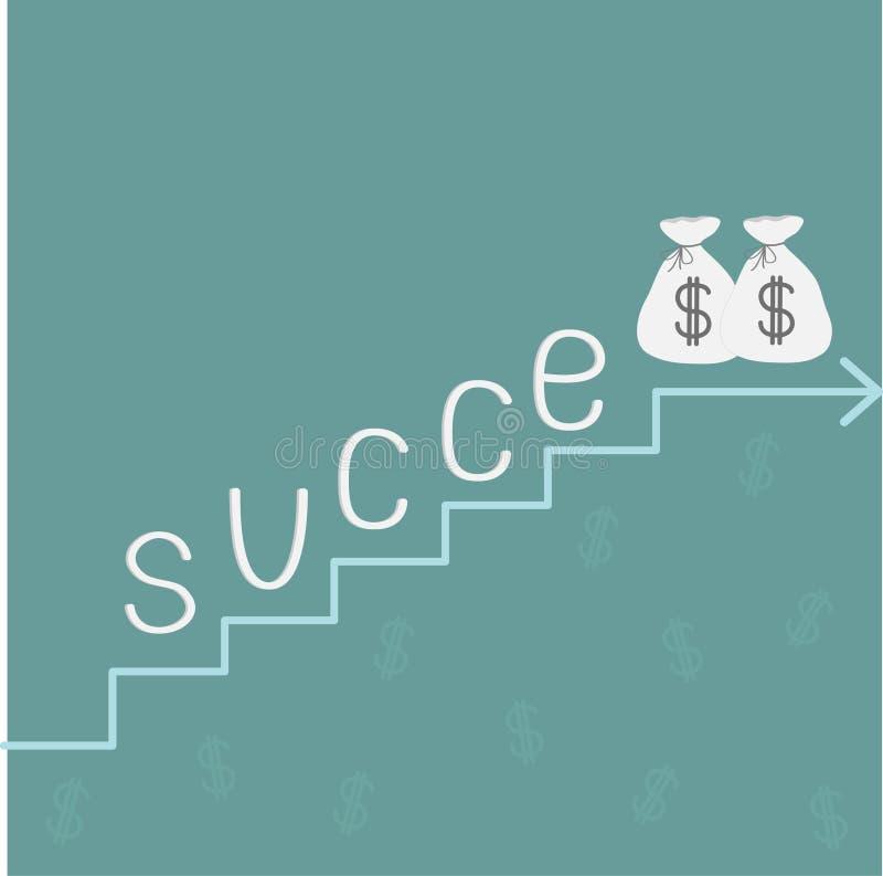 Schodka słowa sukces i pieniądze torby z dolarowym znakiem. ilustracja wektor
