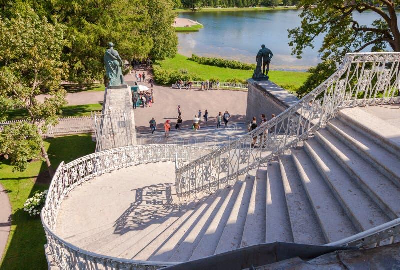Schodki Cameron galeria Catherine pałac przy Tsarsko obrazy stock