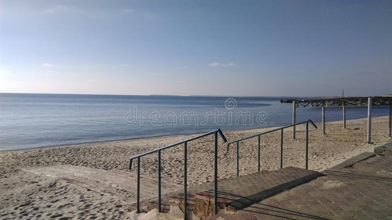 Schodki Czarna morze plaża zdjęcie royalty free