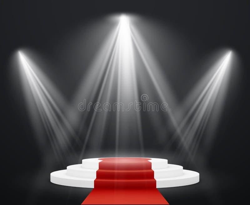 Schodki 3d z czerwonym chodnikiem Światło reflektorów sceny schody podium dla osobistość piedestału nagrody schody do sukcesu ilustracja wektor