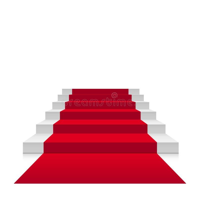 Schodki 3d z czerwonym chodnikiem Wektorowy szkarłatny schody dla osobistości lub schody do sukcesu odizolowywającego na białym t royalty ilustracja