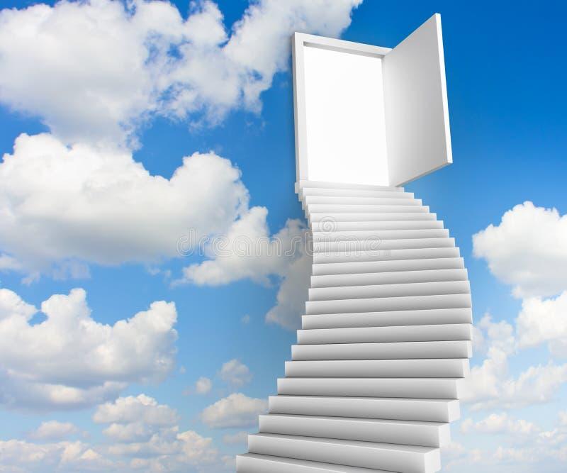 Schodki drzwi niebo ilustracji