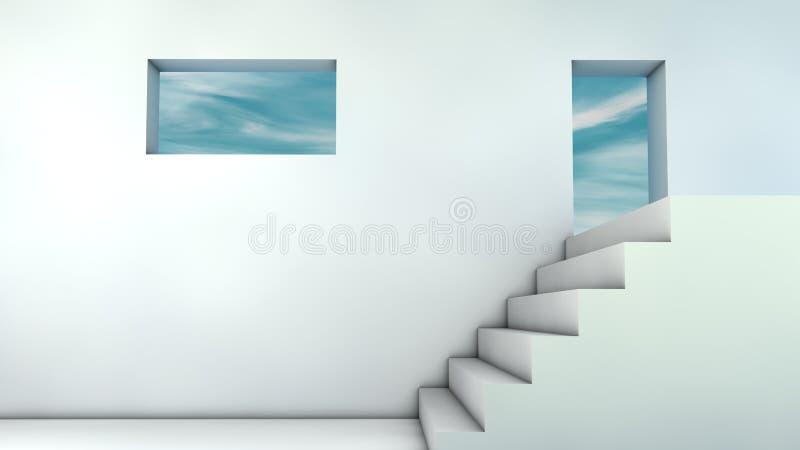 Schodki i niebo ilustracji