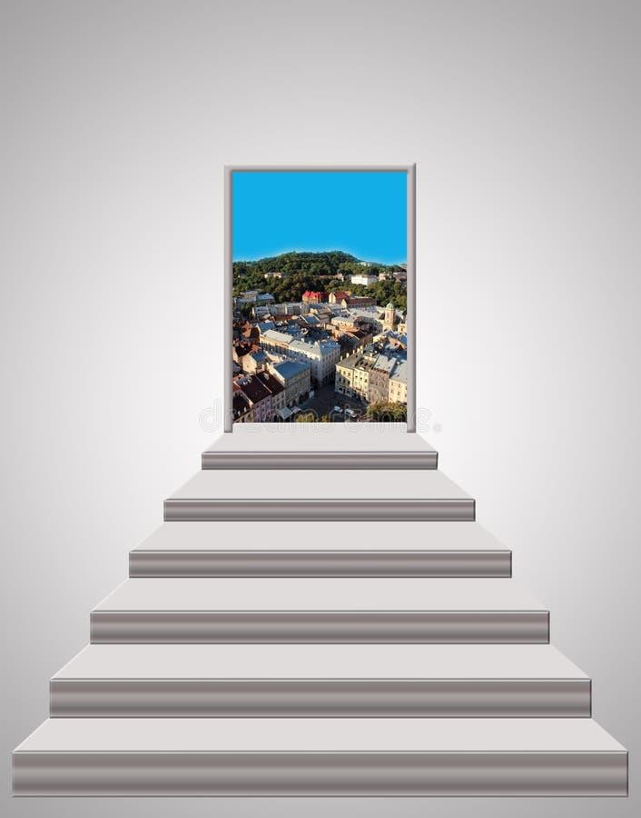 Schodki prowadzi do krajobrazu miasto zdjęcia stock