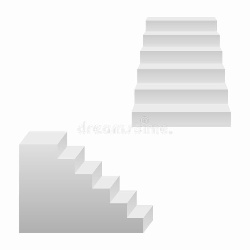Schodki ustawiający, 3d realistyczni schody wektor ilustracja wektor