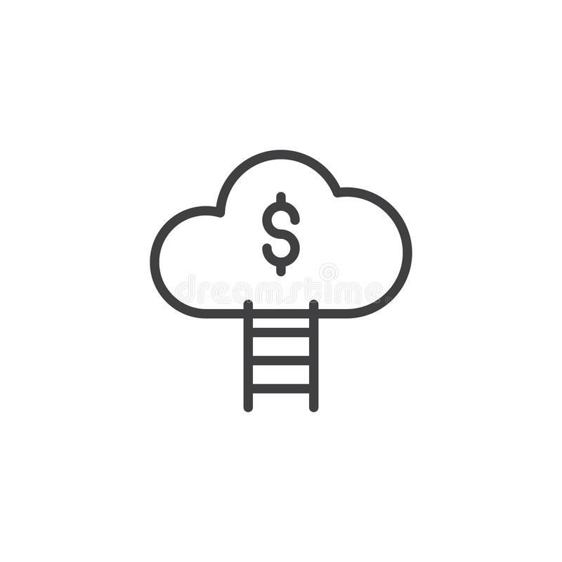 Schodki w pieniądze chmury konturu ikonie ilustracja wektor