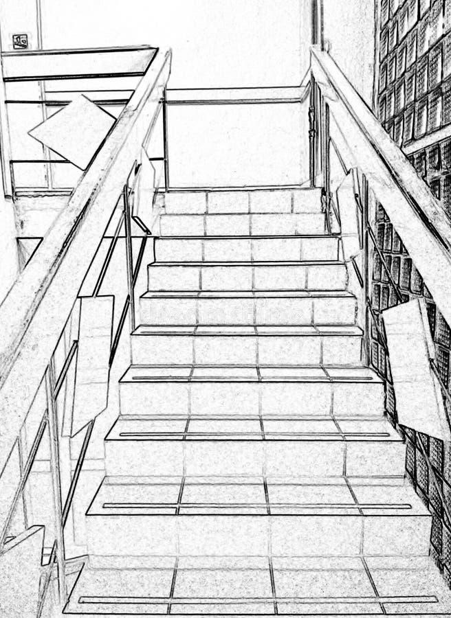 Schodki, wspinaczkowi w górę, czarny i biały, rysunek, fotografia przerób obrazy stock