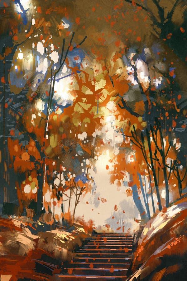 Schodki z drzewami w parku royalty ilustracja
