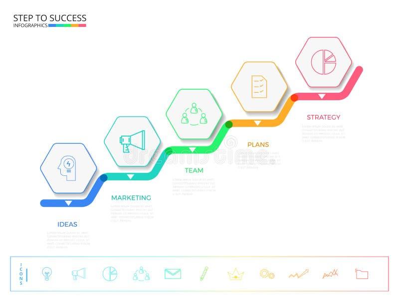 Schodowy krok sukcesu pojęcie Nowożytny kolorowy biznesowy linia czasu sześciokąta infographics szablon z ikonami i elementami ilustracji
