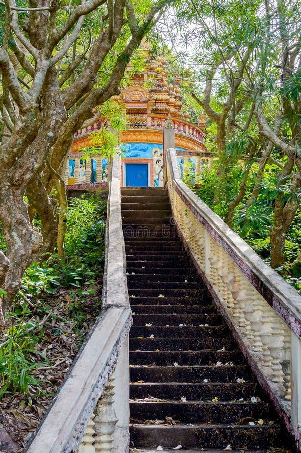 Schody iść do buddyjskiej świątyni w dżungla lesie zdjęcia royalty free