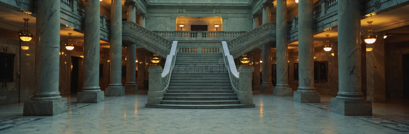 Schody i marmuru kolumny, Utah Stan Capitol zdjęcia royalty free
