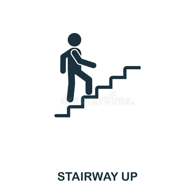Schody w górę ikony Kreskowego stylu ikony projekt Ui Ilustracja schody w górę ikony piktogram odizolowywający na bielu Przygotow royalty ilustracja