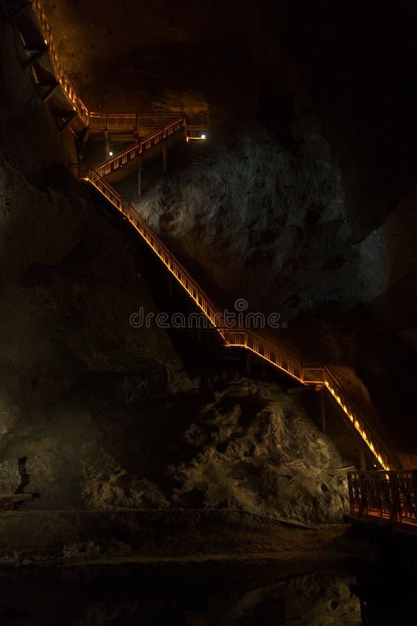 Schody w solankowej kopalni obrazy stock