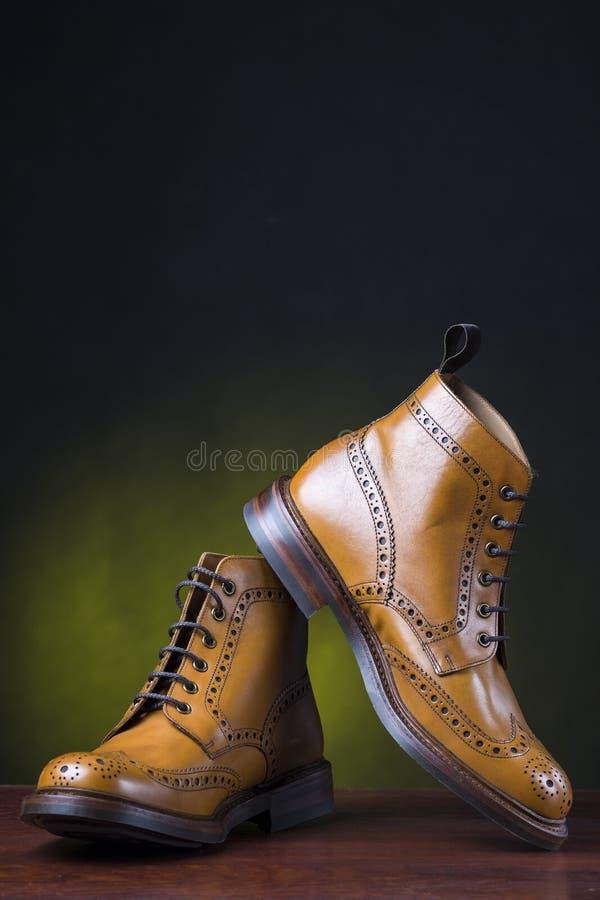 Schoeisel en schoenenconcepten Paar Premie Gelooide Brogues royalty-vrije stock afbeelding