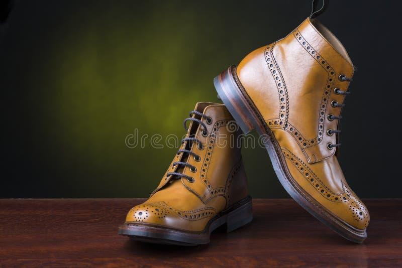 Schoeisel en schoenenconcepten Paar van premie gelooide brogue derb stock afbeelding