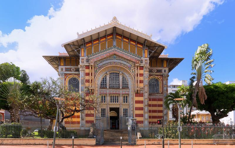 The Schoelcher library., Fort de France city, Martinique island, French West Indies. The Schoelcher library, this building was first erected in Paris, than royalty free stock photos