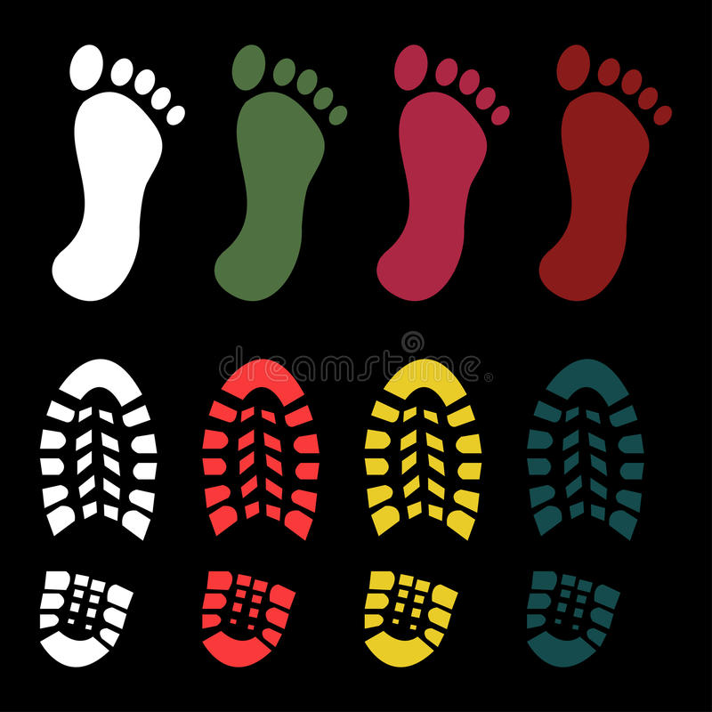 Schoen en naakte voetdruk stock illustratie