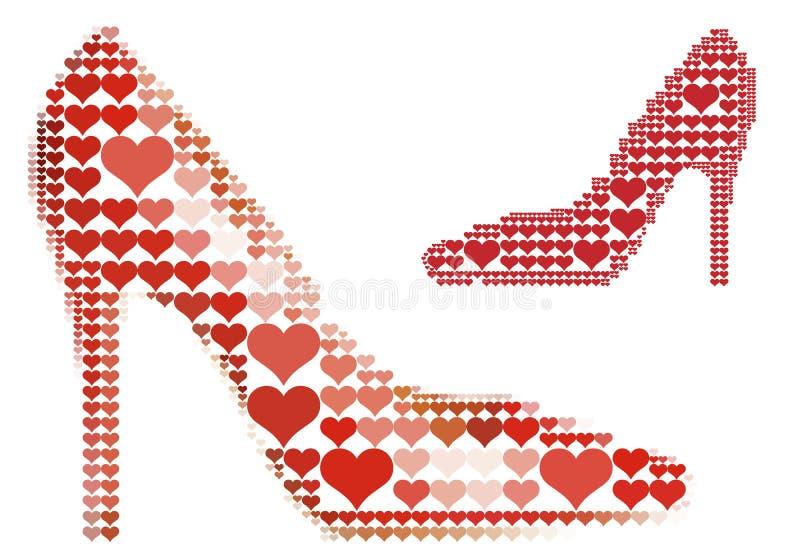 Schoen met rood hartpatroon, vector vector illustratie