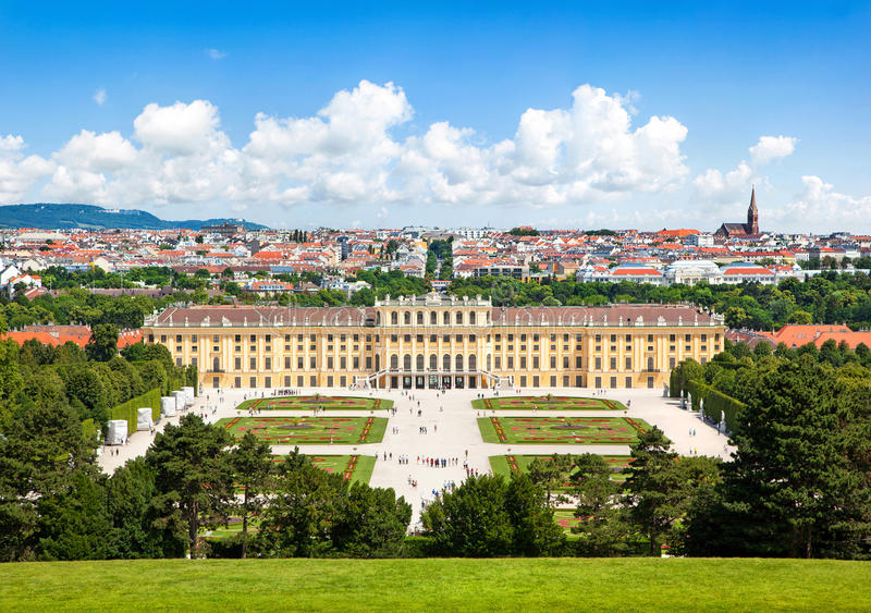 Schoenbrunn Palace with Great Parterre garden in Vienna, Austria royalty free stock photos