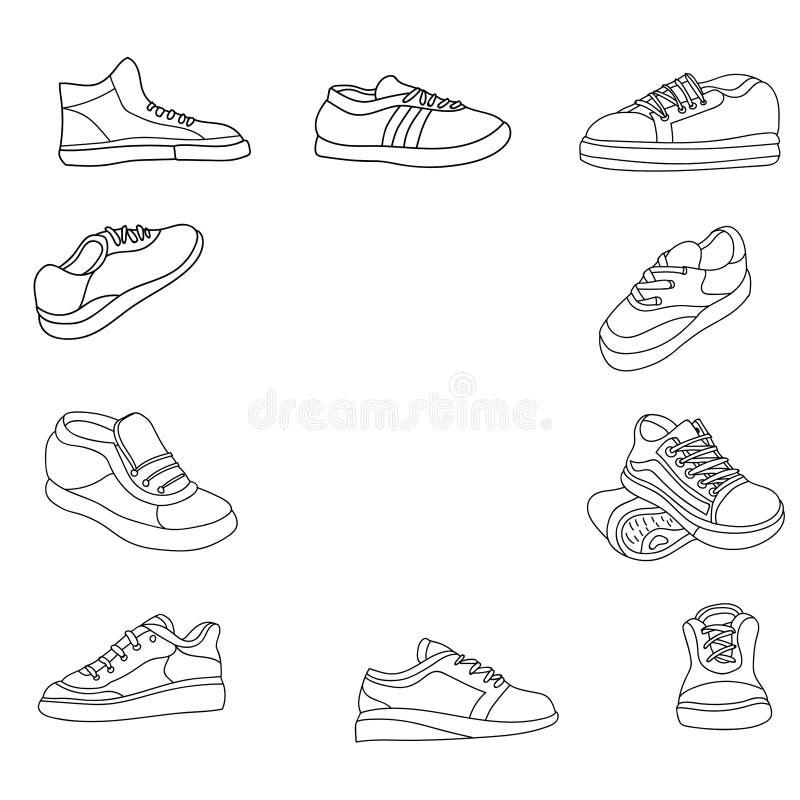 Schoenen geplaatst het pictogramillustratie van de lijnkunst vector illustratie
